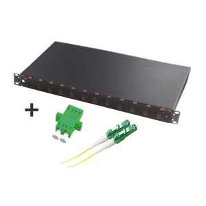 Fibre optique, Tiroirs optiques monomodes, Connectiques LC, TOM 1U 12 SC équipé raccords et pigtails LC-APC duplex