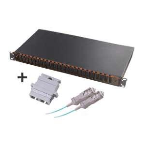 Fibre optique, Tiroirs optiques multimodes, Connectiques SC, TOM 1U 24 SC-DX équipé raccords et pigtails 62.5/125 SC duplex
