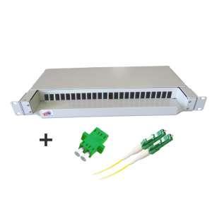 Fibre optique, Tiroirs optiques monomodes, Connectiques LC, TOP 1U 24 SC Pivot Gauche équipé raccords et pigtails LC-APC duplex