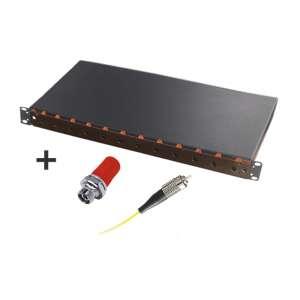 Fibre optique, Tiroirs optiques monomodes, Connectiques FC, TOM 1U 12 ST équipé raccords et pigtails 9/125 FC-UPC