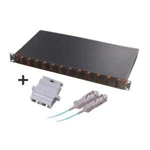 Fibre optique, Tiroirs optiques multimodes, Connectiques SC, TOM 1U 12 SC-DX équipé raccords et pigtails 50/125 SC duplex
