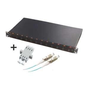Fibre optique, Tiroirs optiques multimodes, Connectiques LC, TOM 1U 12 SC équipé raccords et pigtails 50/125 LC duplex