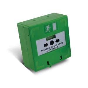 Sécurité, Détection intrustion, Détection incendie, Déclencheur manuel vert. 3 cts inv