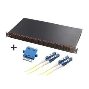 Fibre optique, Tiroirs optiques monomodes, Connectiques LC, TOM 1U 24 SC-DX équipé raccords et pigtails LC-PC quadruplex