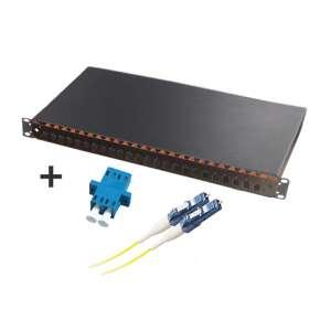 Fibre optique, Tiroirs optiques monomodes, Connectiques LC, TOM 1U 24 SC équipé raccords et pigtails LC-UPC duplex