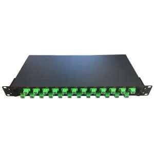 Fibre optique, Tiroirs optiques monomodes, Connectiques E2000, TOM 1U 24 SC Quinconce équipé raccords E2000-APC