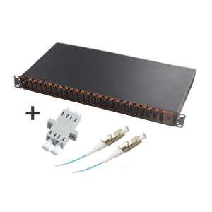 Fibre optique, Tiroirs optiques multimodes, Connectiques LC, TOM 1U 24 SC-DX équipé raccords et pigtails 50/125 LC duplex