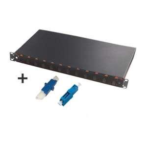 Fibre optique, Tiroirs optiques monomodes, Connectiques hybrides, TOM 1U 12 SC équipé raccords E2000-PC et LC-PC