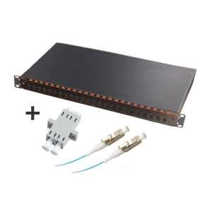 Fibre optique, Tiroirs optiques multimodes, Connectiques LC, TOM 1U 24 SC équipé raccords et pigtails 50/125 LC duplex