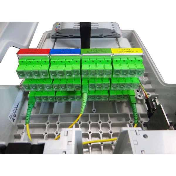 Fibre optique, Boîtiers, Boîtiers optiques intérieurs, Boîtier BUDI-1S-T équipé raccords et pigtails