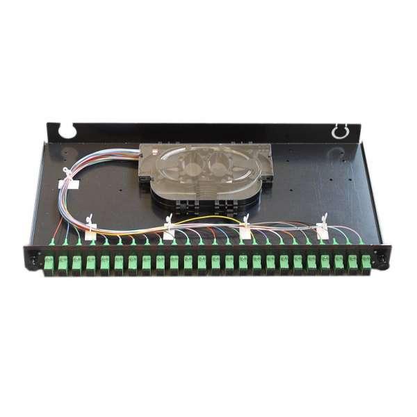 Fibre optique, Tiroirs optiques monomodes, Connectiques SC, TOM 1U 24 SC équipé raccords et pigtails SC-APC