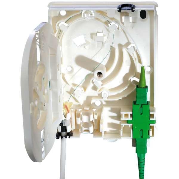 Fibre optique, Boîtiers, Boîtiers optiques intérieurs, Boîtier d'abonné HFTP équipé raccords et pigtails